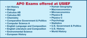 AP Exams offered at USIEF